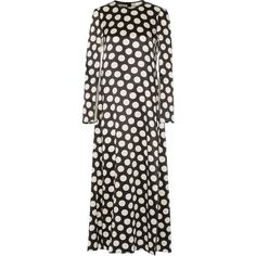 Calvin Klein Collection Polka-dot satin maxi dress ($2,190) ❤ liked on Polyvore featuring dresses, loose sleeve dress, panel maxi dress, polka dot maxi dress, satin dress and loose fitting maxi dresses