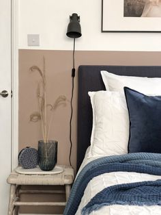 Bedroom Color Schemes, Bedroom Colors, Home Decor Bedroom, Feature Wall Bedroom, Bedroom Wall, Salmon Bedroom, Farrow And Ball Bedroom, Master Bedroom Makeover, Neutral Paint
