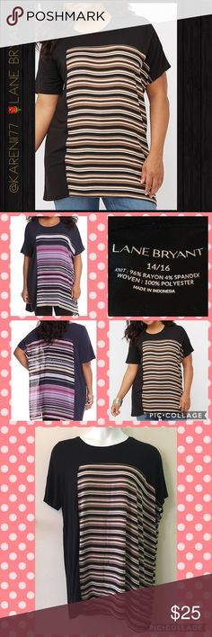 "✨LANE BRYANT ✨ Black  STRIPED INSET TUNIC ✨NWOT Unique mixed-media tunic takes your look to the next level with semi-sheer striped chiffon inset. Very dramatic blouse! Flattering scoop neck and short sleeves. Black is a soft knit like fabric. Very trendy and stylish, great as career wear, club wear or even a semi formal occasion. 96% Rayon 4% Spandex with 100% Polyester chiffon inset✨Machine Wash & Tumble Dry. ✨Approx. Measurements✨14/16✨Bust 53' Waist 54' Hips 59' Length 33"" - 35"" Lane…"