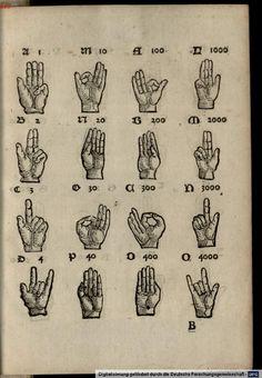 Another illustration of finger-counting.    Beda :  Abacus atque vetustissima veterum Latinorum per digitos manusque numerandi  consuetudo Ratisponae 1532 [VD16 B 1446]  http://daten.digitale-sammlungen.de/~db/0002/bsb00026192/image_9