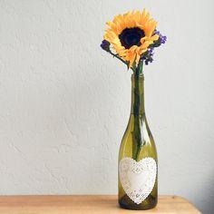 Easy Paper Doily Decoupaged Wine Bottles