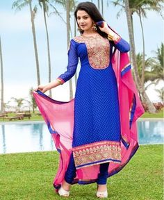 Picture of Exquisite Blue Party Wear Salwar Kameez