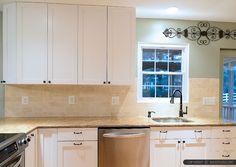 gold granite countertop beige kitchen cabinet travertine subway backsplash tile
