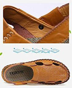 Amazon.com | Leader Show Men's Summer Close Toe Flat Sandal Casual Breathable Slippers (7.5, Black) | Sandals