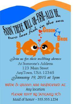 Wedding Shower Invitation - Kissing Fish - Fish Theme - LaTorre Couture - $2 per invite - Message me :) latorrecouture.com