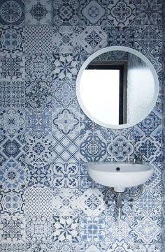 small bathroom renovation using the Roman dutch blue granite tile.