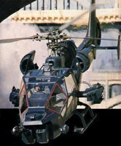 Blue Thunder, precursor to Airwolf, vehicular RoboCop, and the second leg of MacGyver's flight from his Griffith Obersvatory home to the KIVA underground laboratory in Bannon, New Mexico. Film Blue, Military Helicopter, Military Aircraft, Helicopter Plane, Game Design, Gi Joe, Engin, Military Weapons, Classic Tv