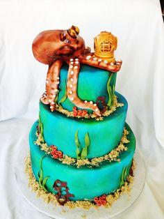 Octopus scuba diver cake