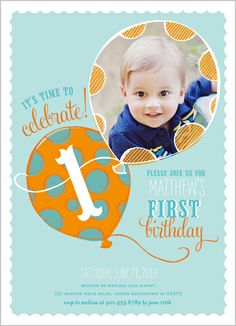 Up Up Away Boy Birthday Invitation