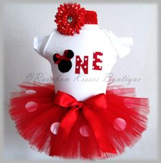 Red Minnie Mouse Birthday Outfit Minnie Outfit by RBKBoutique, $38.00
