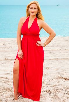 Red Halter Maxi Dress - swimsuitsforall