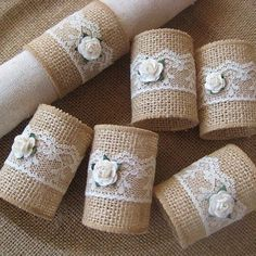 Items similar to Burlap Napkin Rings, Rustic Napkin Rings, Burlap & Lace Napkin Rings, Rose Napkin Rings, set of on Etsy Basteln Rustic Napkin Rings, Rustic Napkins, Diy Napkin Rings, Burlap Crafts, Diy And Crafts, Serviettes Roses, Deco Champetre, Selling Handmade Items, Etsy Handmade