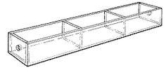 """Mini Tray-1"""" H x 10"""" W x 1-3/4"""" D. Three 3""""-wide compartments."""