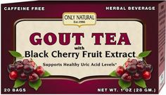 Only Natural's Gout Tea is a delicious yet comprehensive blend of Black Cherry Extract, Celery Seed, Dandelion Root, Green Tea (Caffeine Free), Alfalfa and Ginger Root. Only Natural's Gout Tea may ass