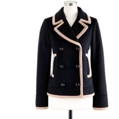 I just added this to my closet on Poshmark: NWT J.Crew 00 Tipped Peacoat Black And Tan Coat. Price: $265 Size: 00