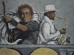 New painting of Bruce Springsteen and Clarence Clemons on the side of a building on Main Street in Asbury Park. Looks like Clarence is an angel as we remember him on the second anniversary of his passing.