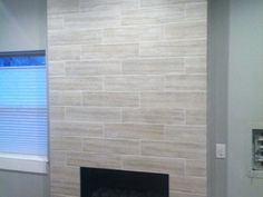 6x24 Wood look Porcelain Fireplace - Tile Perfection
