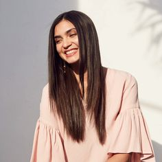 Straighten and add shine to hair with a flat iron. Coarse Hair, Shiny Hair, Hair Tools, Flat Iron, Straight Hairstyles, Bell Sleeve Top, Long Hair Styles, Women, Fashion