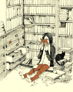 Illustration of a girl reading with her cat holed up in a library. I Love Books, Good Books, Books To Read, My Books, Reading Books, Cat Reading, Woman Reading, World Of Books, Lectures