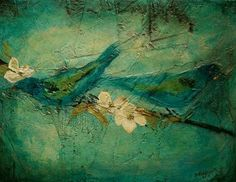 """""""Bluebirds"""" Mixed on canvas by Donna Holdsworth  SOLD"""