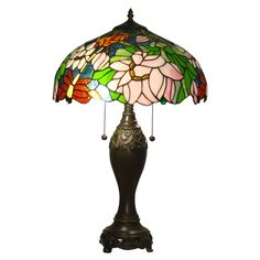 Bring a splash of color and style to your home with this Tiffany-style stained glass table lamp from Amora Lighting. The floral design is made of 402 pieces of colored glass and 30 glass gems, creating a truly dazzling effect.