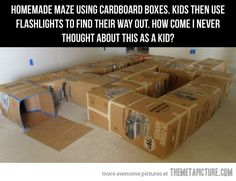 Who says kids can't enjoy life without an iPad? Here are some fun activities for kids with homemade cardboard box maze. I wish I had thought Projects For Kids, Crafts For Kids, Cat Crafts, Kids Moves, My Children, Precious Children, Future Children, My Childhood, Kids Playing