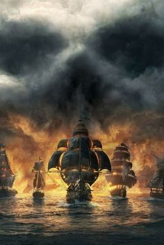 pirates are accompanied by their friends - so that the sea doesn't look vacant Pirate Art, Pirate Life, Pirate Ships, Bateau Pirate, Old Sailing Ships, Sea Of Thieves, Ghost Ship, Ship Paintings, Wow Art