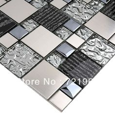 Silver metal mosaic stainless steel tile kitchen backsplash SSMT114 glass mosaic tile kitchen glass tiles pattern $291.89