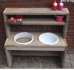 "Hey I would like to build my little son a ""Mud kitchen"" for the garden for years and could an old (Beistell) table an old fe Sand And Water Table, Small Space Interior Design, Mud Kitchen, Backyard Playground, Outdoor Fun, Play Houses, Kids Furniture, Diy For Kids, Kids Playing"