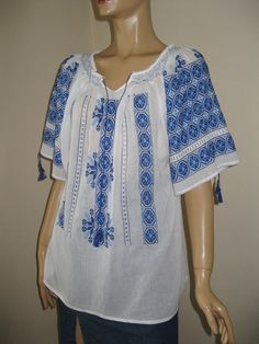 Hand embroidered Romanian blouse  embroidered by RealRomania, $130.00 Gypsy Clothing, Bohemian Gypsy, Embroidered Blouse, Boho Style, Folk Art, Boho Fashion, Shabby Chic, Tunic Tops, Costumes