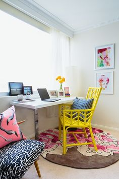 Just because it's an office for grownups doesn't mean you can't use bright primary colors.