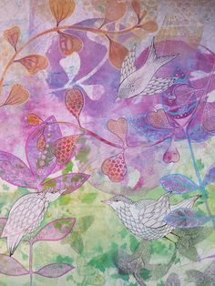 "Large Gelli prints using a small Gelli plate I got a 6x6 inch Gelli plate the other day.  After a lovely time experimenting with small cute prints (I will post in a separate post) I had a brainwave and thought. .""what if I could make a large image using it like a stamp to make large textures all over"" so here goes the results!  First I layered up the background using lots of texture but in  subtle way: ghost prints of stencils and leaves,  feathers and doilies.  I then added detailed shapes…"