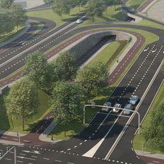 Variantenstudie naar de inpassing van comfortabele fietsroutes in het knooppunt… Delft, Landscape, Scenery, Corner Landscaping