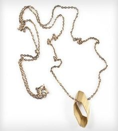 Brass Rhombus Pendant Necklace