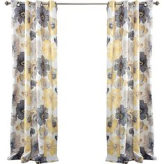 Floral Blackout Grommet Curtain Panel In Yellow Set Of 2 Floral Curtains Curtains Yellow Curtains