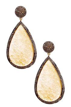 Rivka Friedman    Limited Edition Champagne Diamond & Golden Beryl Bold Teardrop Earrings