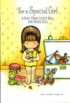 Paper Doll 1975 Joan Walsh Anglund Little Nell Hallmark Greeting Card Unused Uncut Girl's Birthday