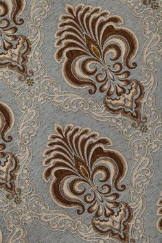 Picture of Bleu Fleur De Lis - Pelmet Style Damask Curtains, Luxury Curtains, Valance Curtains, Fancy Curtains, Bedroom Curtains, Curtain Patterns, Textile Patterns, Swags And Tails, Roman Fashion