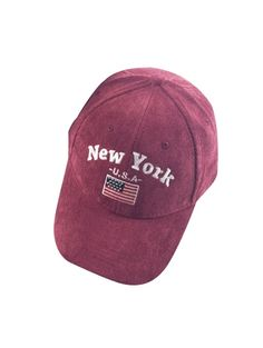 Autumn New York And USA Flag Embroidery Corduroy Baseball Hat WINE RED: Hats | ZAFUL