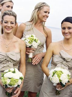 I like the neutral bridesmaids dresses. how about something like this with purple shoes and soft flowers?