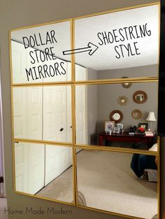 Tightwad Tuesday: $6 Mirror from the Dollar Store  /  From HomeMadeModern blogspot