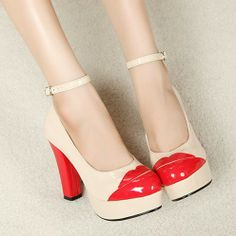 Aliexpress.com : Buy FREE SHIPPING!!!  Black  PU leather with red PU, red part like mouth platform pumps from Reliable women pumps suppliers on Guccn $25.40