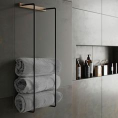 Towel Rack is a practical and stylish towel storage that fits perfectly into most appliances with it Hotel Bathroom Design, Diy Bathroom, Towel Rack Bathroom, Bathroom Interior, Bathroom Storage, Modern Bathroom, Black Bathroom Decor, Bathroom Ideas, Black Bathrooms