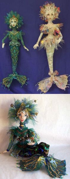 """Soprana CD  by Stephanie Novatski You'll find an array of amazing embellishment techniques in this highly detailed pattern. Learn to create the exquisite body fabric using stencils, paints, hot glue and gold leaf of this gorgeous mermaid that comes in two sizes 17"""" & 22""""."""