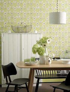 Retro floral wallpaper in the kitchen