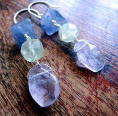 Pastel LUXE Gemstone Earrings  Iolite  Prasiolite  by catrocks