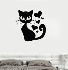 Vinyl Decal Cat Kitten Love Romantic Pet Bedroom Decor Wall Stickers (ig180)
