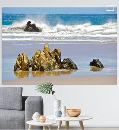 Goldene Meeres Felsen von Rooiels, Western Kapland, S.A.  mit Spiegelung. Manipulation Photography, Rock Posters, Digital, Painting, Art, Photos, Gold Skirt, Rocks, Canvas Frame
