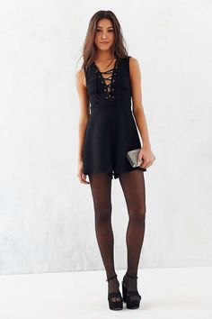 Silence + Noise Lace-Up Sleeveless Romper - Urban Outfitters