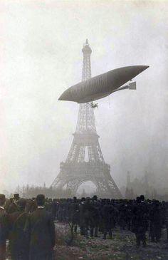 "historicaltimes:  The Airship, ""La Republique"" passing the Eiffel tower in Paris circa 1908. . via reddit"